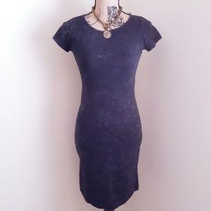 F21 Black Acid Wash Midi Dress